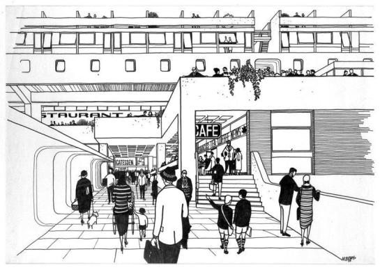Cumbernauld Town Centre, rys. Michael Evans z kolekcji Royal Incorporation of Architects in Scotland.